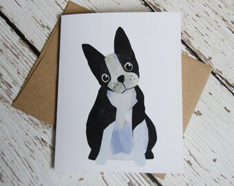 Boston Terrier Card of Original Collage