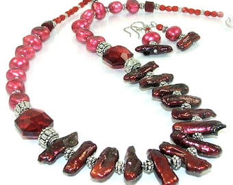MAJOR MARKDOWN - Festive Red, Hot Pink, Mahogany Pearl and Crystal Beaded OOAK Necklace