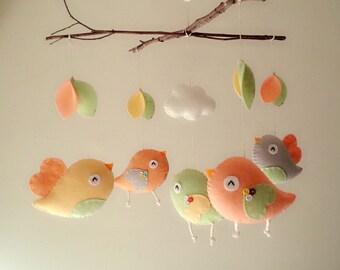 """Baby crib mobile, Bird mobile, felt mobile, nursery mobile, baby mobile,""""Bird - Branch"""""""