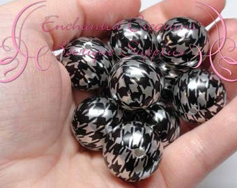 20mm Black and Silver Houndstooth Print Beads, Checker Print Bubblegum Bead, Gumball Beads, Printed Beads, Chunky Beads, Large Jewelry Beads