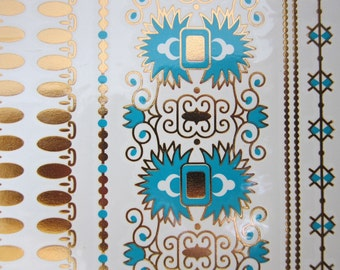 Metallic Temporary TATTOOS JEWELRY, METALLIC Tattoos, gold and turquoise Fake Tattoos, skin jewelry tattoos, Boho Style