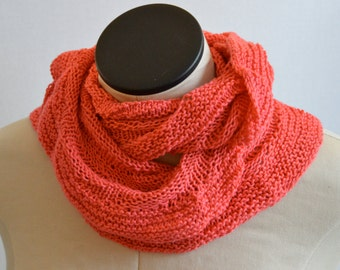 SALE - Summer Cowl, Spring Infinity Scarf, Cotton Cowl, Coral Summer Scarf, Hand Knit Neck Scarf,  Peach Silk Cowl