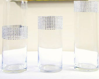 """7"""" and 9.5"""" cylinder vase decorated with rhinestone."""