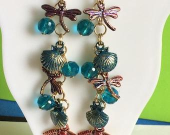 Dragonfly ,Seashell And Bee Dangle Earrings