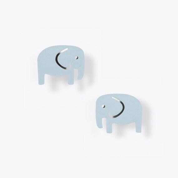 Light Blue Elephant Stud Earrings