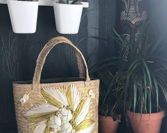 Vintage straw bag, woven bag, raffia purse, straw bag