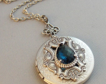 Victorian Sapphire,Locket,Antique Locket,Silver Locket,Sapphire Stone,Rhinestone,Vintage,BlueStone,Sapphire Birthstone Valleygirldesigns.