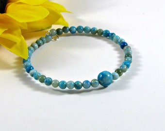 Jasper memory wire bracelet; single wrap bracelet; stacking bracelet