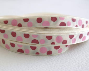50 cm of Ribbon cream with light pink dots and dark 10mm