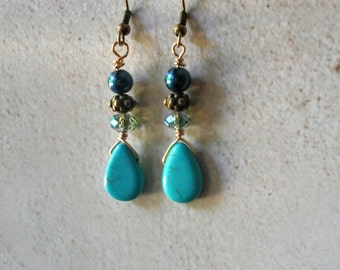 Copper and Gold Earrings with Turquoise Teardrops