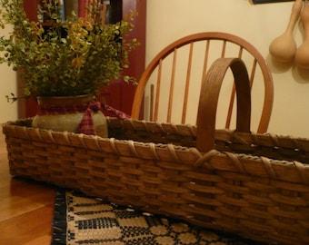 Primitive Handwoven Long & Skinny Basket, Storage Basket, Gathering Basket, Prim Decor, Mantel Basket, Buffet Basket, Harvest Basket