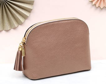 Personalised Rose Gold Luxury Leather Cosmetic Bag (HBL24/135Y)
