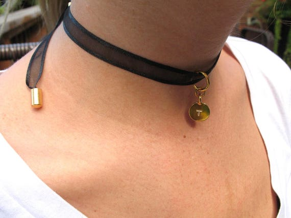 Boho Choker Necklace in Black Ribbon with Gold Tierra Cast Initial Charm