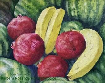 Kitchen Art, Fruit Painting, Fruit Print, Fruit Watercolor, Pomegranate Art, Banana Print, Watermelon Art, Restaurant Art