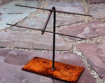 Jewelry Display Stand Rustic Metal or Natural Steel - BEND Mini Ladder