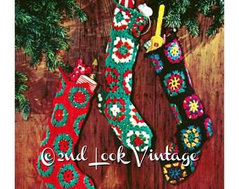 Vintage Crochet Pattern Granny Square Christmas Stocking Pattern 1970s Digital Download PDF