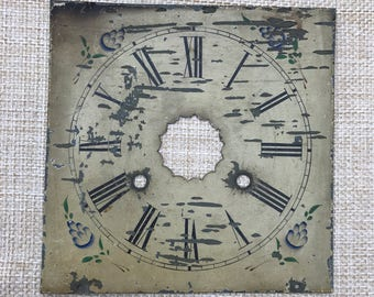 Antique Clock Face Vintage White Metal Chippy Paint Farmhouse Wall Art Steampunk Industrial Garden Primitive