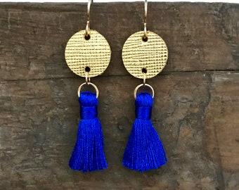 Royal Blue & Gold Tassel Earrings