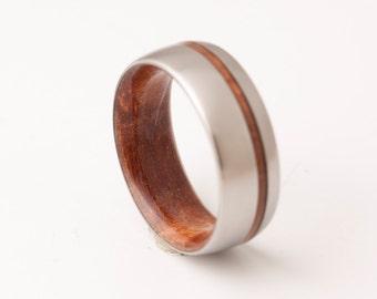 Titanium and Red Wood // Mens Wood Rings //wood Wedding Band //Men's wedding Band //metal wood jewelry