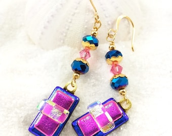 Unique Fused Glass Earrings, Dichroic Glass Earrings, Dichroic glass beads, gold plated wires, jewelry Handcrafted, modern pink earrings