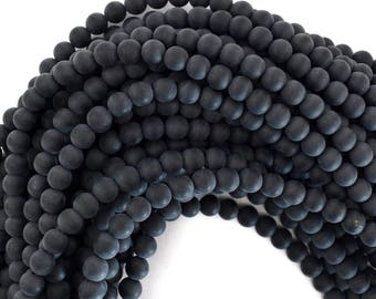 "8mm matte black onyx round beads 15"" strand 39198"