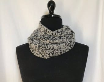 Black and Gray  Infinity Cashmere Scarf made from an Upcycled Sweater