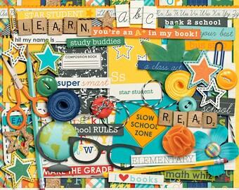It's Elementary Digital Scrapbook Kit - INSTANT DOWNLOAD
