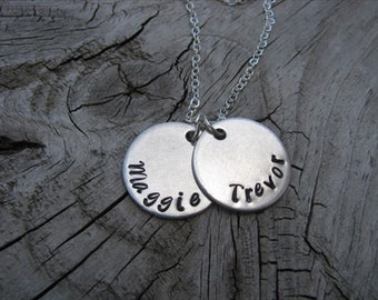 Mother's Name Necklace- Two Disc Name Necklace- Hand-Stamped - 2 name necklace