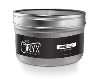 Homestead Candle - 4 oz. Tin Soy Wax Candle - Barn wood and cozy cabin scented candle