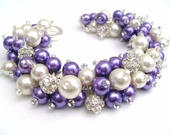 Bridal Jewelry, Purple Wedding, Pearl Bridesmaid Bracelet, Pearl and Rhinestone Bracelet, Cluster Bracelet, Purple Bracelet, Bridesmaids