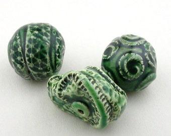 Green Ceramic Beads, Porcelain Beads, Bead Trio, Green Beads, Unique Beads, Artisan Beads, Bead Set, Emerald Beads, Dark Green Beads