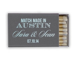 """50 """"Match Made In Heaven"""" Personalized Matchboxes, Custom Wedding Matches, Personalized Wedding Favors, Sparkler Send Off"""