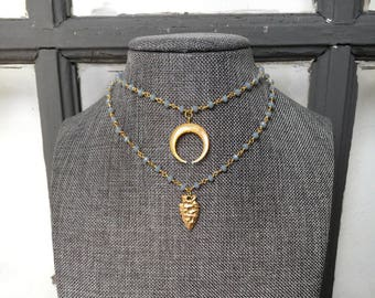 Blue Beaded Rosary Chain Choker Necklace - Crescent Horn Choker - Arrowhead Choker - Gold Rosary Choker