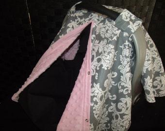 Car seat Canopy Minky Grey Scroll Blanket Cover carseat canopy car seat cover nursing cover infant car seat