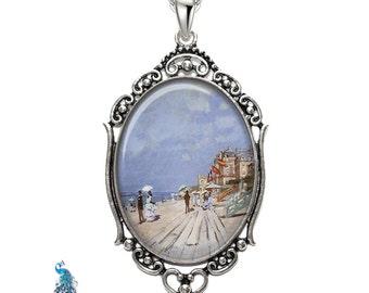 Monet Beach At Trouville Oval Filigree Pendant Necklace Art Pendant Photo Pendant Graphic Pendant