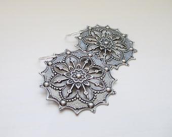 Harper Earrings, Ornate Filigree Earrings with Sterling Silver