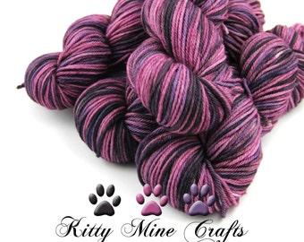 100% Superwash Merino Worsted Yarn - OOAK - 4oz/ 113g, 212yd/ 193m - Hand Dyed - Knitting, Crochet - Wool Yarn - Purple, Blue, Black