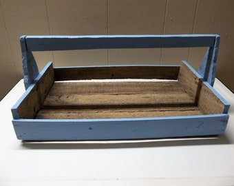 Vintage Wooden Berry Tote Painted Blue Farmhouse Gardening Decorative