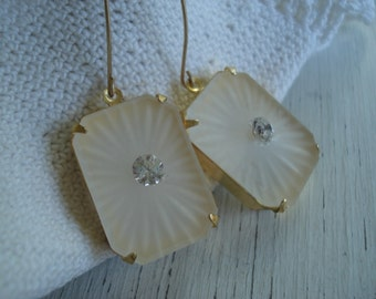 SALE 1920's Art Deco Vintage Etched Lalique Inspired Czech Crystal Frosted Camphor Glass Gold Earrings