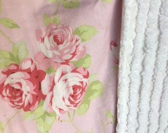 SALE Chenille Baby Blanket Burp Cloths  burp rags Shabby Pink Roses Nursery Stroller Shower gift shabby roses pink roses baby gift