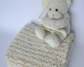 Crochet Baby Blanket,White Baby Blanket, Alpaca Blanket, Crocheted Baby Blanket, Lap Blanket, Crib Size Blanket, New Baby Gift, Grandma Gift