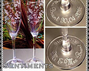 Personalised Engraved Cherry Blossom & Butterfly Champagne Flutes - New - Handmade - Wedding Gift