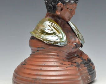 Large Brown Buddha Statue Meditation Wrapped in a Radiant Gold Green Raku Shawl Ceramics
