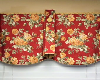 "Custom Made TOP HAT Hidden Rod Pocket® Valance fits 47""- 66"" window, created using customer provided fabrics and my lining"