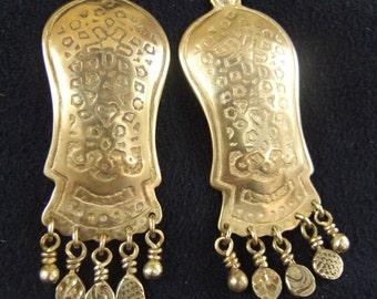 Long gold earrings,Ethnic jewelry,Statement earrings,Dangle drop earrings,Brass&sterling silver,Etched earrings,patterned earrings,Bohemian