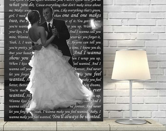 Gifts for Him Geezees Personalized Gift Your Wedding Pictures to Canvas Art Personalized with Your Words Vows lyrics 18x24  inches