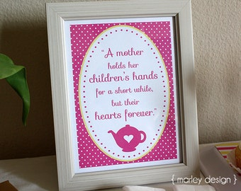 Mother's Day Quote Printable Frameable Art Instant Download Tea Wall Art Decor
