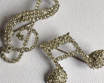 Pair of Vintage Musical Note Brooches