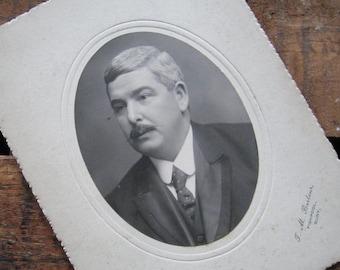 Vintage Antique Portrait of a Man with a Mustache - Photograph / Cabinet Card