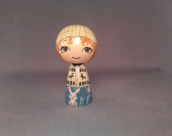 Girl with bunny and squirrels Outdoors  Kokeshi Peg Wooden Doll